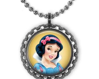 Disney Princess SNOW WHITE & 7 Dwarfs 3D Bottle Cap Necklace | Bracelet