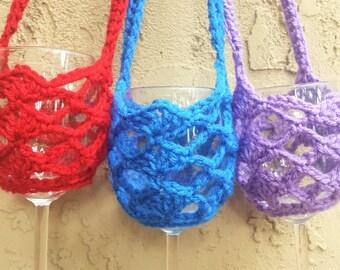 Wine Glass Necklace,  Crochet Glass Holder, Wine Glass Holder Necklace, Glass Holder, Crochet Wine Glass Holder, Wine Necklace, Wine Holder,