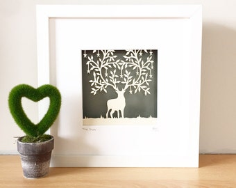 Original papercut, papercut art, stag, stag picture, woodland animals, papercutting, hand cut art, deer picture.