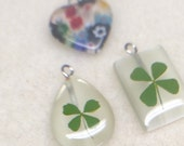 Small glass pendants - four leaf clovers and millefiori heart - set of 3