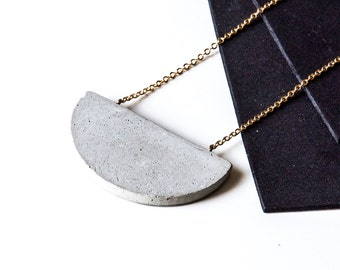 Concrete Necklace Half Moon Half Circle, Architectural Industrial Gold-plated Minimalist Necklace