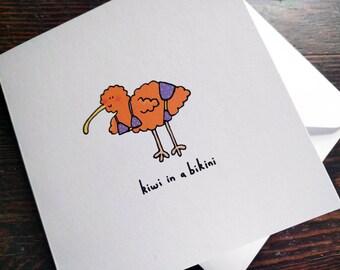 Kiwi in a bikini - funny card, created from original illustration