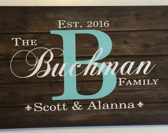 Family Name Sign Monogram - Rustic Wood Sign or Canvas Wall Hanging - Wedding, Anniversary Gift, Housewarming