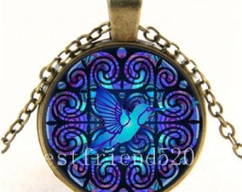 Hummingbird Photo Cabochon Glass Bronze Chain Pendant Necklace
