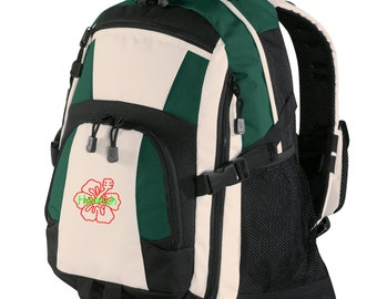 Personalized Backpack Embroidered Back Pack Custom Backpack - Sports - Hibiscus Flower - BG77