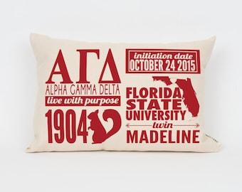 Alpha Gamma Delta Custom Sorority Facts Pillow // Greek Letter Pillow // Big Little Gift // Sorority Letters // Sorority Gift // Dorm Decor