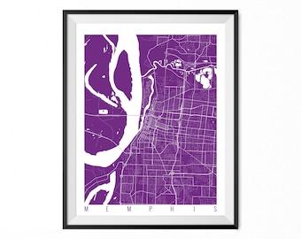 Memphis City Map Art Print Memphis Poster Memphis Wall Art Tennessee Gift