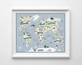 World map animals etsy map animals continents world map kids world map nursery animals gumiabroncs Image collections