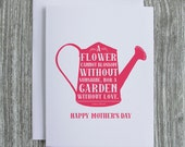 Happy Mother's Day - Watering Can - Letterpress Blank Greeting Card on 100% Cotton Paper