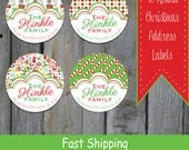 40 Round Christmas Themed Address Labels - Colorful Christmas Return Address Labels (RR10)