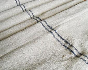 3m // 3.3y Antique Grain sack Natural Hemp Linen Hungarian Handwoven Linen Roll or Table runner Tablecloth Indigo Blue stripes
