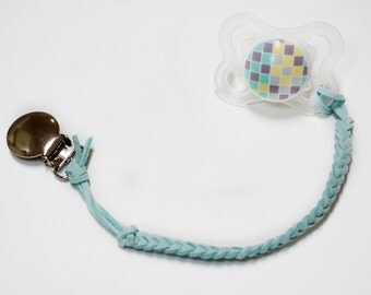Aqua Leather Braided Binky Clip -(modern pacifier clip, boy, girl, gender neutral, faux suede, light blue, simple, natural)