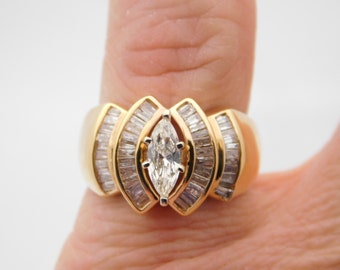 1.25 Carat T.W. Ladies Marquise & Baguette Cut Diamond Ring Yellow Gold