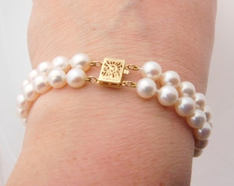 Ladies Double Row Cultured Pearl Bracelet 14K Yellow Gold 7.5 Inches