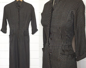 Vintage 1940s Black & Brown Plaid Wool Shirtdress / Made by Betty Hartford / WWII / Midcentury