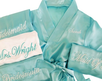 Set of 7 Bridesmaid Satin Robes with Names on Front and Titles on Back, Above the Knee Robes, All Sizes 2 to 28, Ships in 2-3 Days