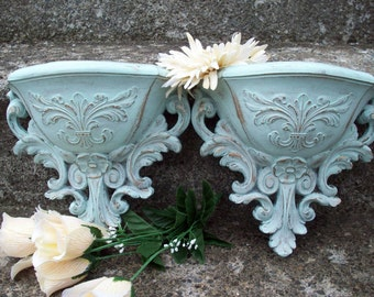 Rustic Wall Pocket planters hand painted in mint green & gold/ Vintage Homco Syroco sconces set of 2 wall decor/ shabby cottage home decor