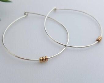 Sterling silver hoop earrings/ Silver beads / handmade / gift / hoops / mixed metal / unique / dainty