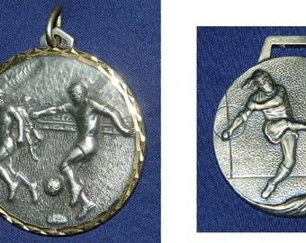 set of 2 soccer superb medal Art Deco medals