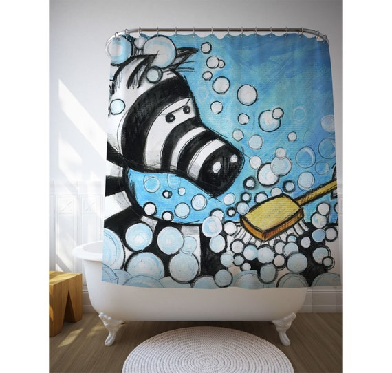 Zebra Shower Curtain, Bath Decor, Kids Bathroom Art, Illustration Art, Children Bath Decor, Home Decor