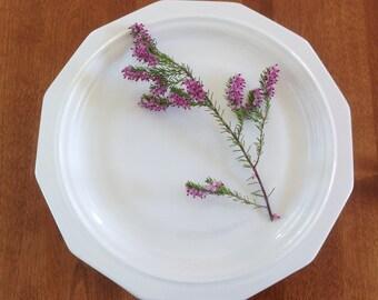 "Four (4) Pfaltzgraff 10"" HERITAGE White Dinner Plates - All White - Multi-sided USA"