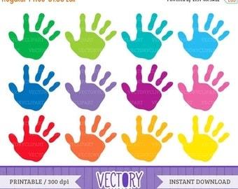ON SALE -30% 12 Handprint Clipart Set, Kids Handprint Images, Kids Hands, Hand Prints Children, Handprint Clip Art by VectoryClipart