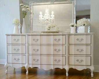 UNAVAILABLE! Shimmer Glam White Silver French Provincial 9 Drawer Dresser Mirror  Vanity Hollywood Chic Romantic  Southern California
