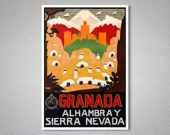 Granada Alhambra Y Sierra Nevada Travel Poster -  Art Print - Poster Print, Sticker or Canvas Print