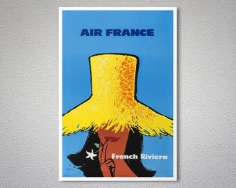 Air France French Riviera Travel Poster - Art Print - Poster Print, Sticker or Canvas Print