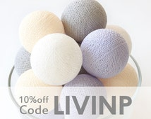 20 Pastel Lavender Grey Cream White Cotton Ball String Lights for Bedroom Baby room Garland Birthday Gift Wedding Party Fairy Patio Decor