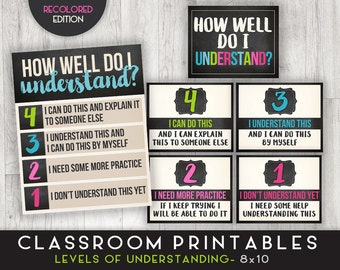 Classroom Printable Posters, Levels of Understanding, Classroom Decor, Chalkboard Prints INSTANT DOWNLOAD - 8x10 - 6 posters