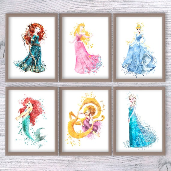 Popular Items For Nursery Decor On Etsy Baby Shower: Princess Disney Princess Set Of 6 Girl Room Decor Baby