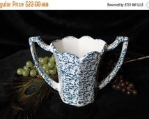 Summer Heat SALE McCoy Pottery Double Handled Vase in Blue and White Spongeware