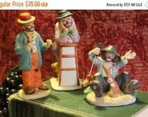 Summer Heat SALE Lot of 3 Emmett Kelly Jr. Collection Porcelain Clown Figurines - Flambro Imports