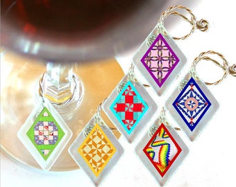 "Wine Glass Charms ""Quilts!"" from rescued, repurposed window glass~ When you don't want to share, mark your glass!"