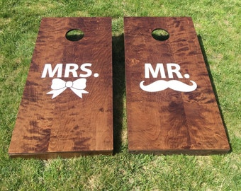 Wood Stained Corn Hole Boards - Mr & Mrs