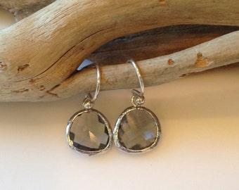 Crystal Glass Earrings, Smoky Grey, Sterling Silver, Dangle Earrings, Gift Earrings, Elegant Style, Gift for Her