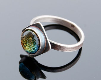 silver ring with dichroic glass A419