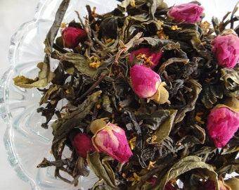 Very Aromatic Tea Blend, Green Tea+Aromatic Pink Rose Buds+Sweet Osmanthus, 1 oz Loose Leaf or 10 Bags Tisane in Silk Pouch