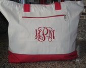 Red Canvas Zipper Tote Bag With Colored Handles (Embroidered) for Bridesmaid Gift, Teachers, Mom, Grandma