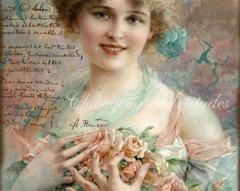 VICTORIAN LADY PRINT, Vintage Lady Print, Vintage Print, Victorian Print, Pastel Floral Print, Aged Lady Print, Home and Wall Decor