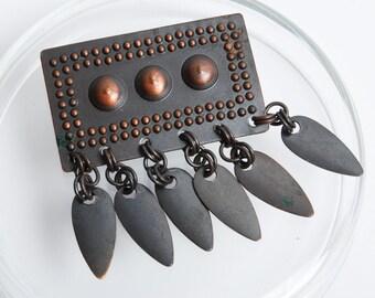 Vintage copper Ethnic Brooch, large national brooch (C0226)