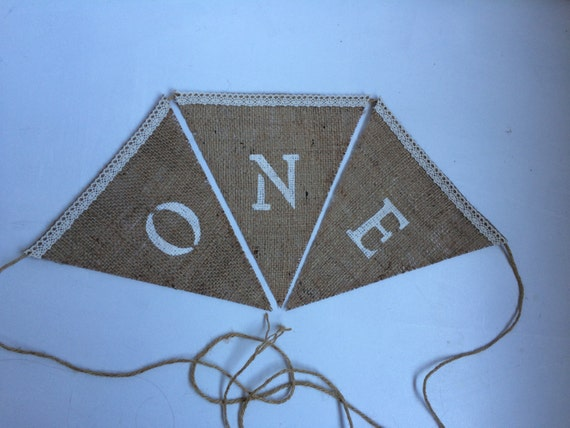 One burlap/crochet accents birthday banner