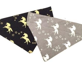 Gold or silver unicorns slip on pet bandana