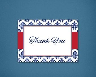 Patriotic Damask Thank You • Thanks • Thank You Card • Classic Thank You • Damask • Red, White & Blue Thank you • Fun Thank you • Patriotic