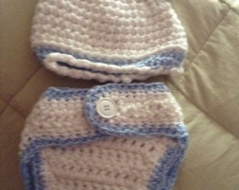 Bear hat &diaper cover set