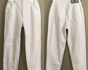 Vintage 80s Escada by Margaretha Ley White High Rise Tapered Denim Jeans