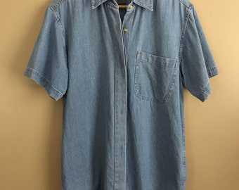 Vintage 80's / 90's Denim Button Front Collared Shirt by Upper West Side