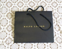 """Small Ralph Lauren paper bag, craft,  8"""" x 9 1/2"""" , re-gift, storage, display, frame, mixed media, 716/583"""