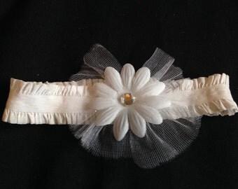 white flowered headband infant